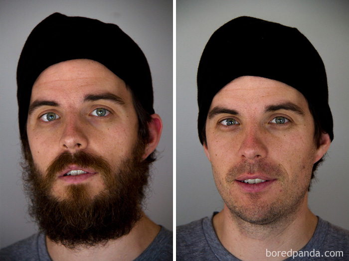 30 мужчин с бородой и без нее. Это точно те же самые люди?
