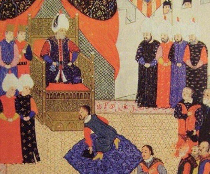 Султан Сулейман принимает правителя Трансильвании Яноша II Запольяи. Старинная миниатюра