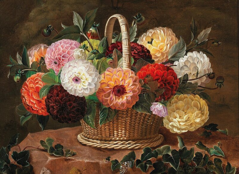 Корзина цветов с георгинами и бабочкой