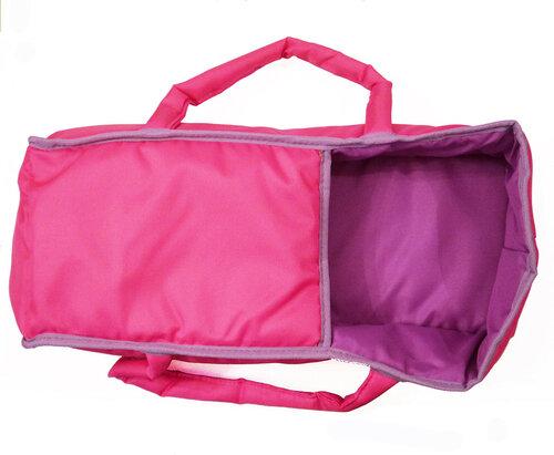 Кукольная коляска с окошком в капюшоне и сумочкой Melobo 9333 розовая с фиолетовым