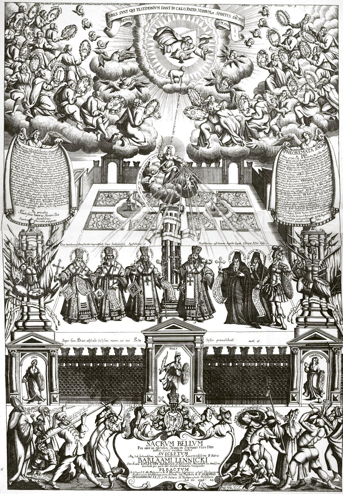350. Тезис, посвященный Варлааму Ленницкому, с его портретом и с изображением еретиков, нападающих на святую церковь.