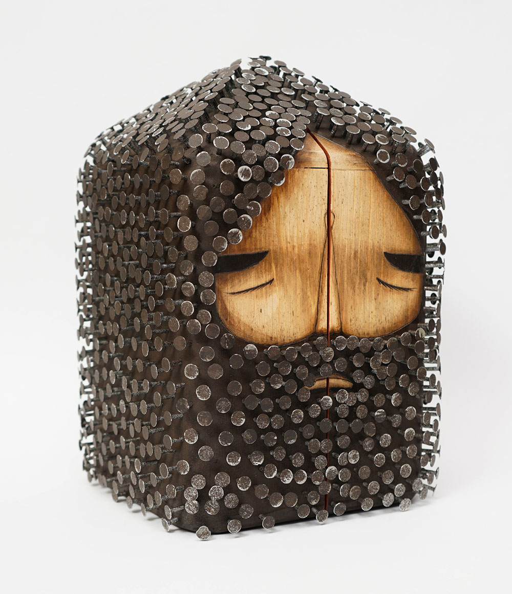 Figurative Found Wood Sculptures Pierced with Hundreds of Nails by Jaime Molina
