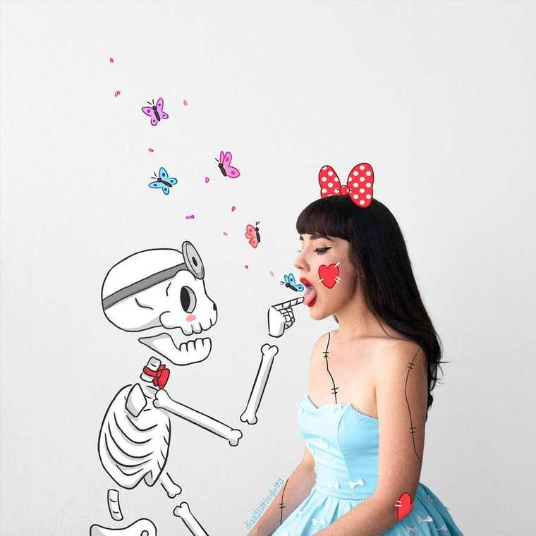Dizzy Little Dotty - Elle ajoute des dessins adorables sur ses autoportraits