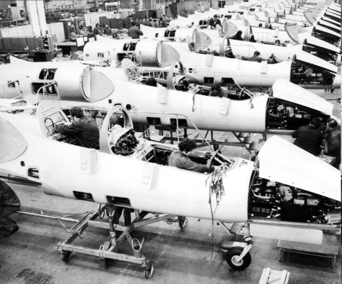 View of the assembly line of the jet training plane L-39 ALBATROS at the AERO Vodochody.