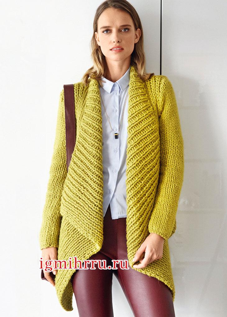 Желто-зеленый жакет с шалевым воротником. Вязание спицами