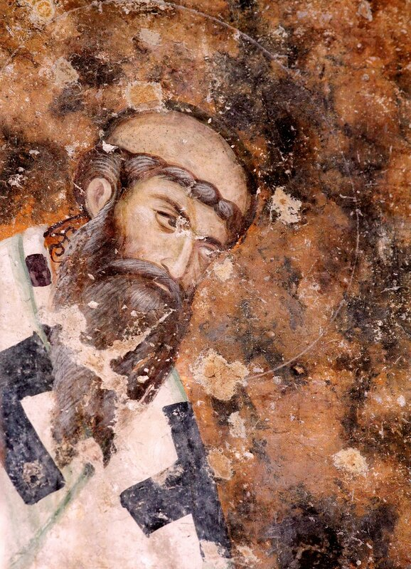 Святитель Савва II, Архиепископ Сербский. Фреска монастыря Сопочаны, Сербия. XIII век.
