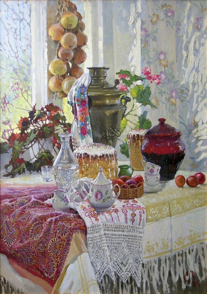 Муковнин Евгений Владимирович -  Светлый праздник, 2005 г. Холст, масло. 110х80 см // Evgeny Mukovnin - Glorious Feast, 2005. Oil on canvas, 110х80cm