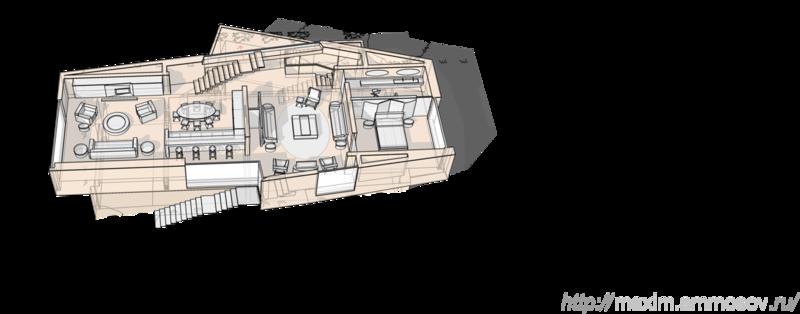 План первого этажа жилого дома с расстановкой мебели,  гостиная,  столовая,  кухня,  спальня,  лестница на второй этаж,  балкон, два,  ванна,  камин,  боковая лестница  Жилой дом, коттедж план с расстановкой мебели.  Многое не отличается совершенством. Но есть вещи, которые делают реальными наши представления об идеальном - Комфорт.  Удобно и комфортно, что еще нужно для счастливого приятного бытия? - Престиж и неподдельное желание окружающих, Вам подражать.