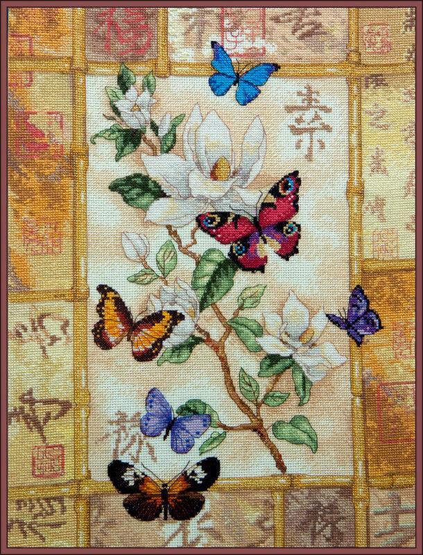 Восточное панно Магнолия и бабочки Вышивка крестом схемы.