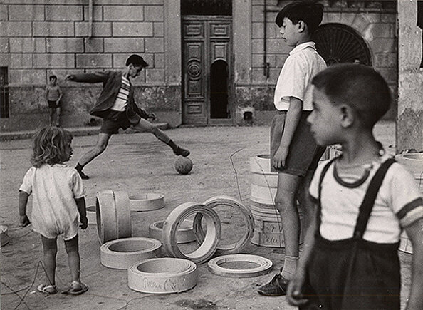 Playing Soccer in the Streets, Naples, 1959