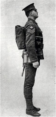 Английский пехотинец в походном снаряжении образца 1908 AD. Вид сбоку.