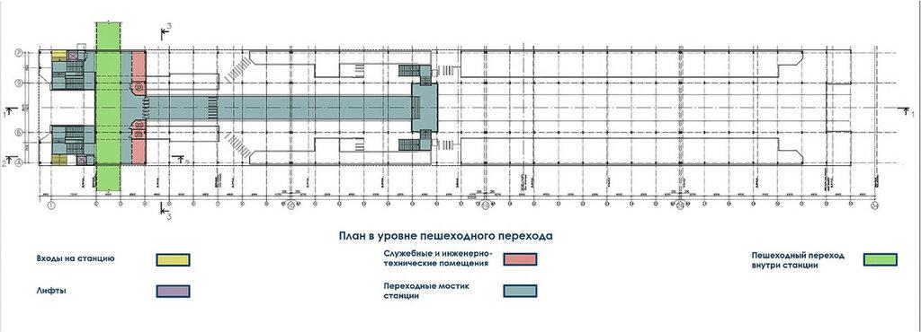 План станции в уровне пешеходного перехода