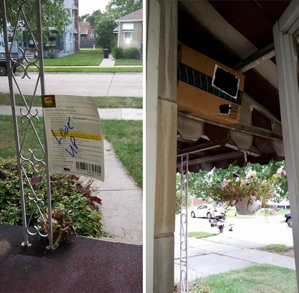 Курьер UPS оставил записку: «Смотреть наверх». Хотя бы спрятал посылку.