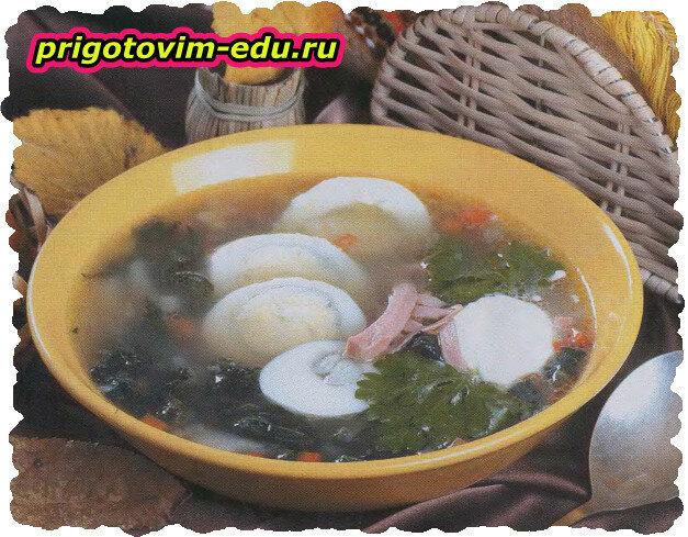 Щи «Закарпатские» с яйцом и щавелем