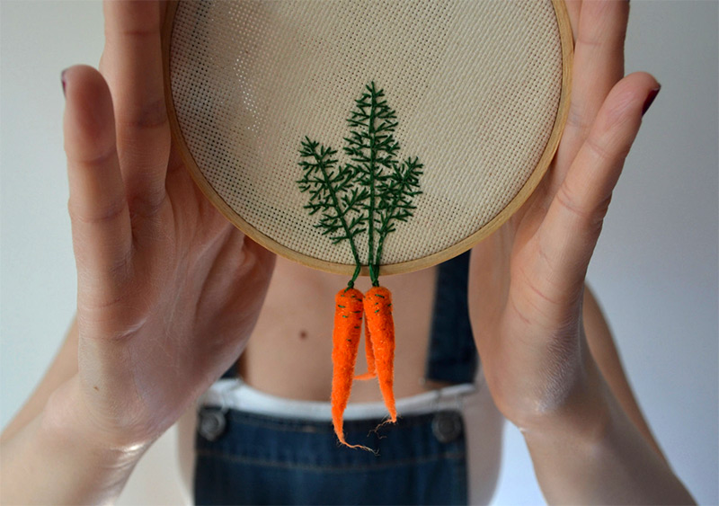 Felted Veggies Dangle from Embroidered Leaves