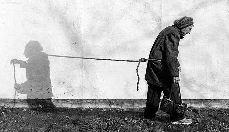 He staged his 91-year-old mother into surreal and offbeat photos