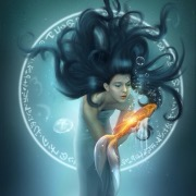 Девушка и зоотая рыбка