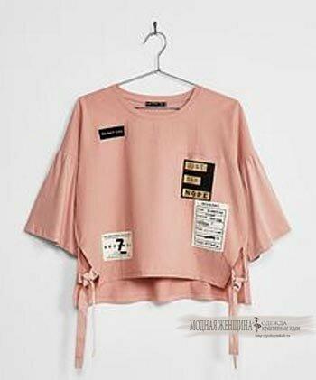 укороченная блуза на завязках по бокам, Camiseta manga campana parches. Descubre ésta y muchas otras prendas en Bershka con nuevos productos cada semana