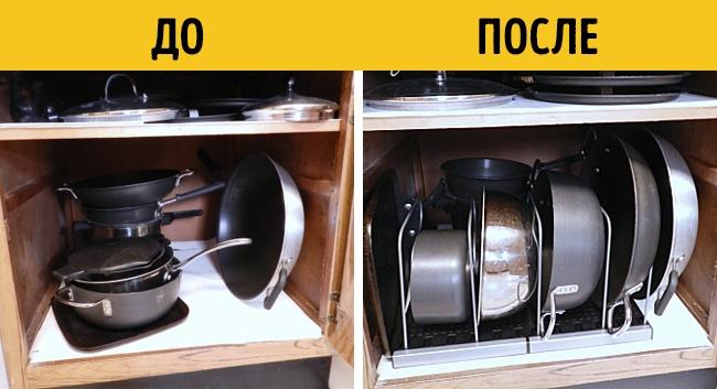 Здесь ненужно каждый раз вытаскивать все сковородки, чтобы достать нужную.