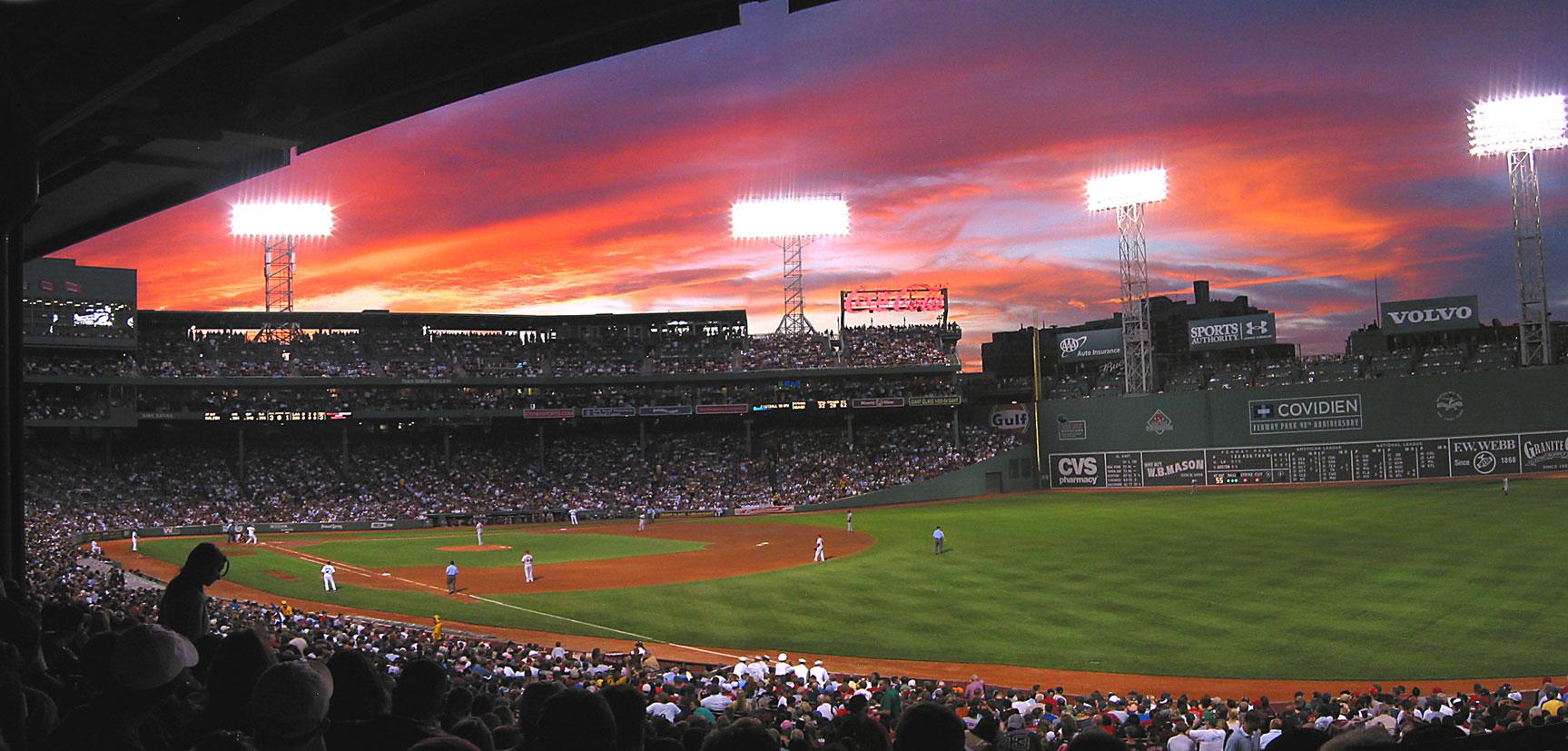 красивые закаты на бейсбольных стадионах / baseball park sunset - fenway park, boston