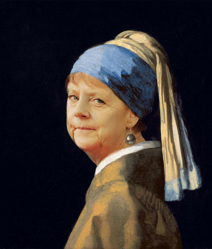 Ангела Меркель в виде девушки с жемчужной сережкой