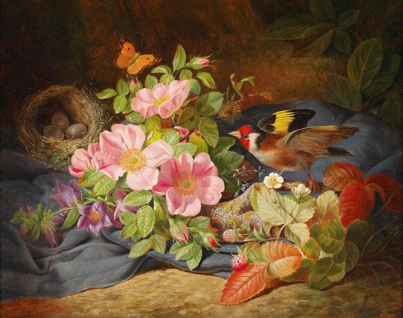 Цветочный натюрморт с щеглом и гнездом.