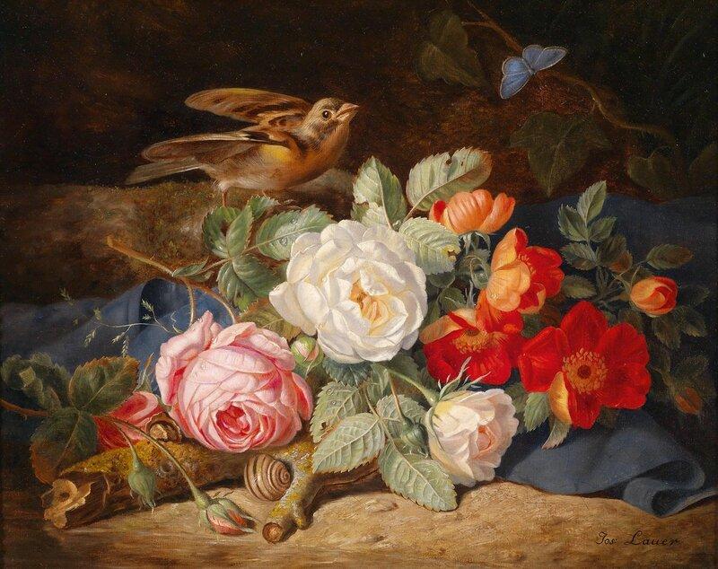 Букет цветов с розами, бабочкой и улиткой.. Австрийский мастер натюрмортов ХIХ века - Йозеф Лауэр