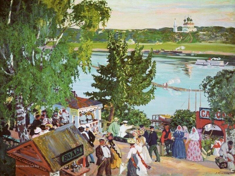 Кустодиев Борис Михайлович (1878-1927) «Гуляние на Волге» 1909.jpg