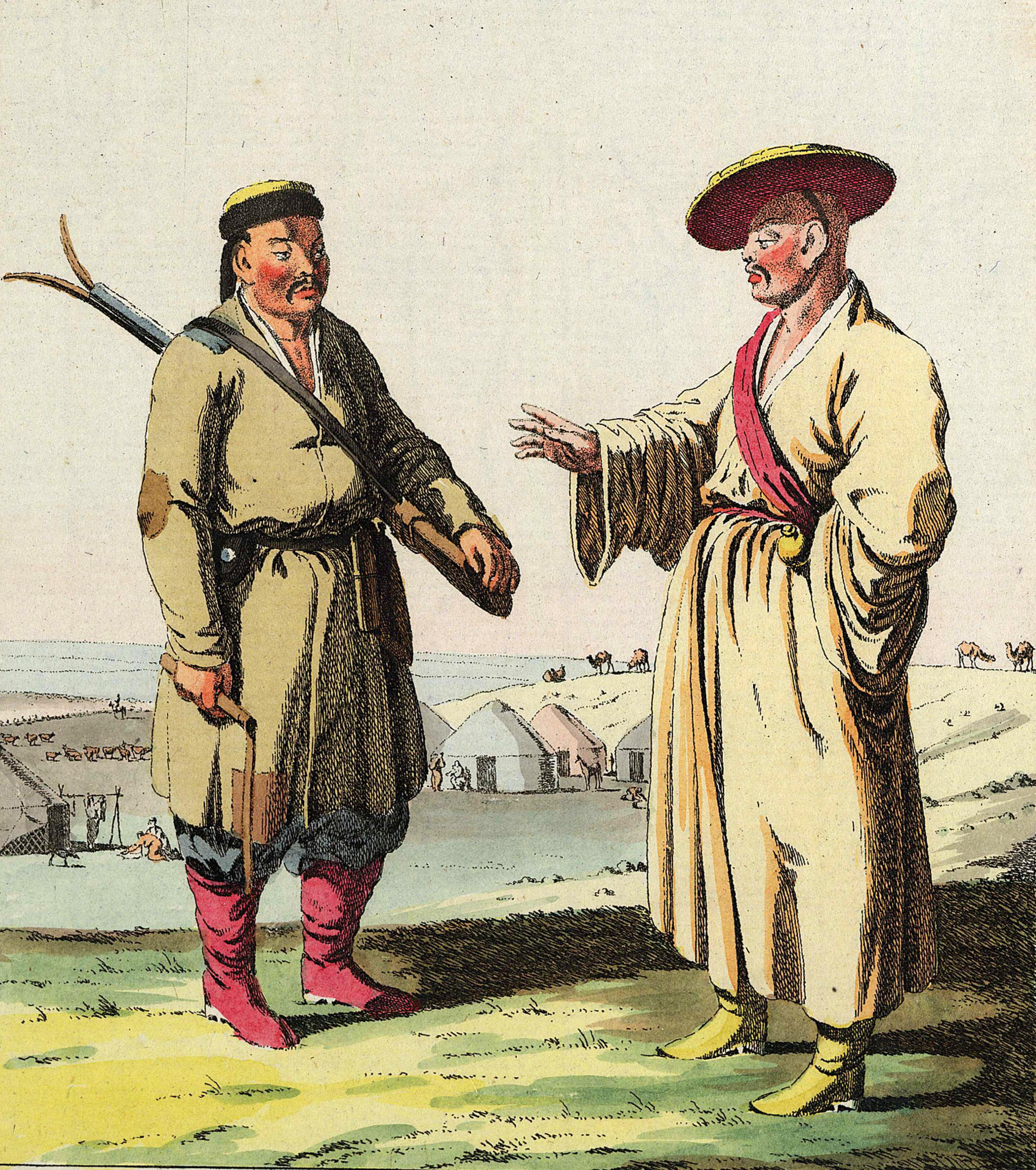 4. Калмык с винтовкой наперевес и калмыцкий священнослужитель.