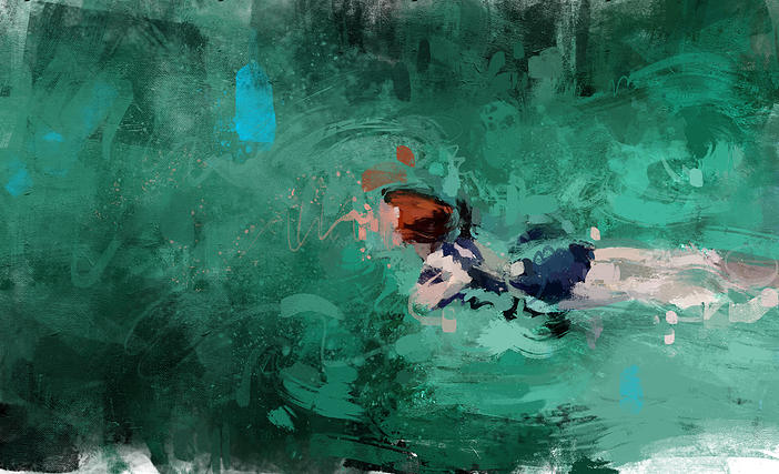 At the end the representation of the swimming act, is nothing more than an excuse to paint what I ha