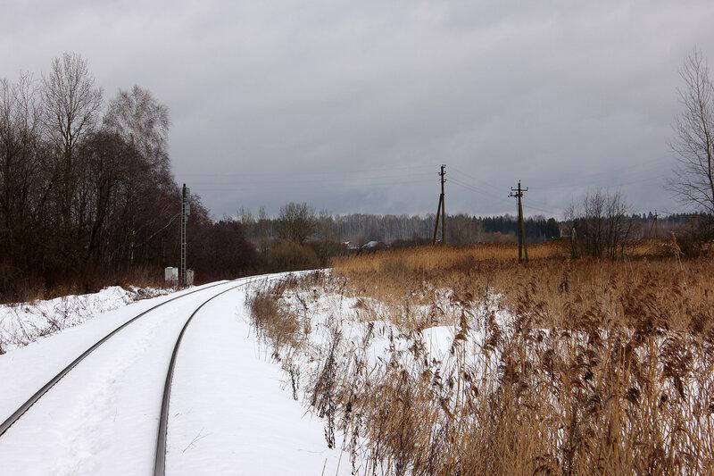 Станция Белый городок, калязинская горловина, вид на Калязин и входной светофор Н