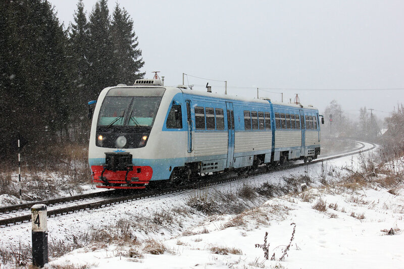 РА2-012 на перегоне Невель-2 - Горушки-Невельские поездом Невель-2 - Новосокольники