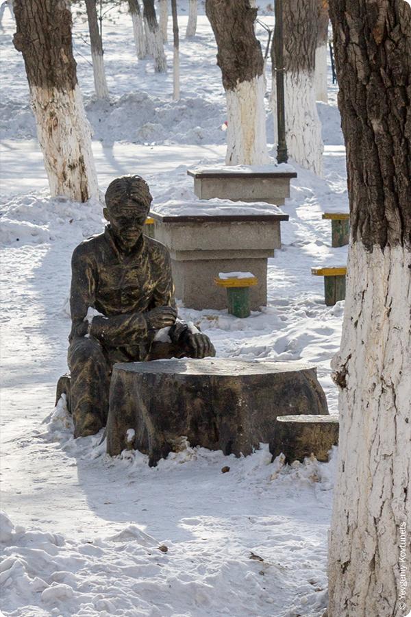 скульптура в парке, мастер игры Го, Маньчжурия