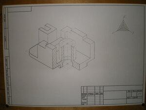 Аксонометрия детали, фото чертежа карандашом