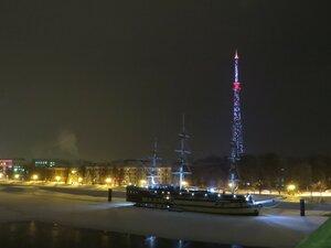 Вид с пешеходного моста - Новый год в Великом Новгороде