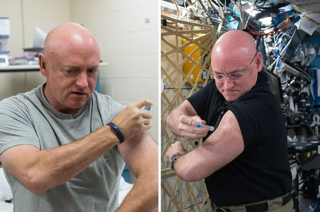 Former astronaut Mark Kelly, left, gives himself a flu shot at the Johnson Space Center in Houston o