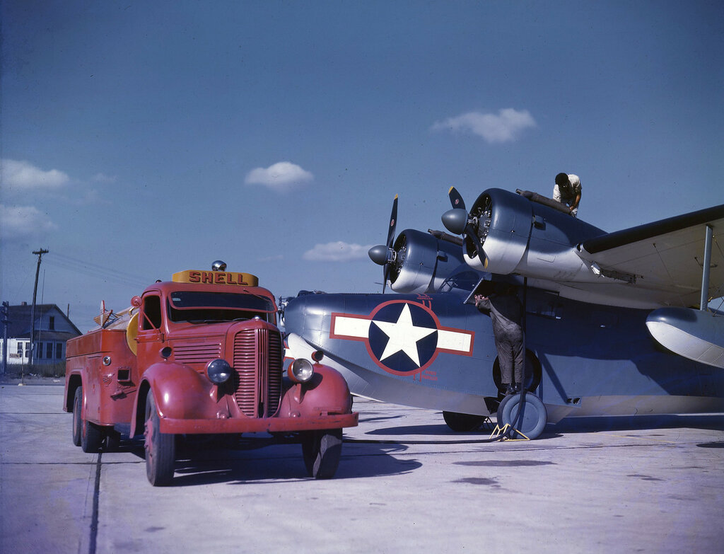 U. S. Coast Guard Grumman JRF-2 Goose being refueled by a Shell truck at the Grumman Aircraft Company facility on Long Island, N.Y.
