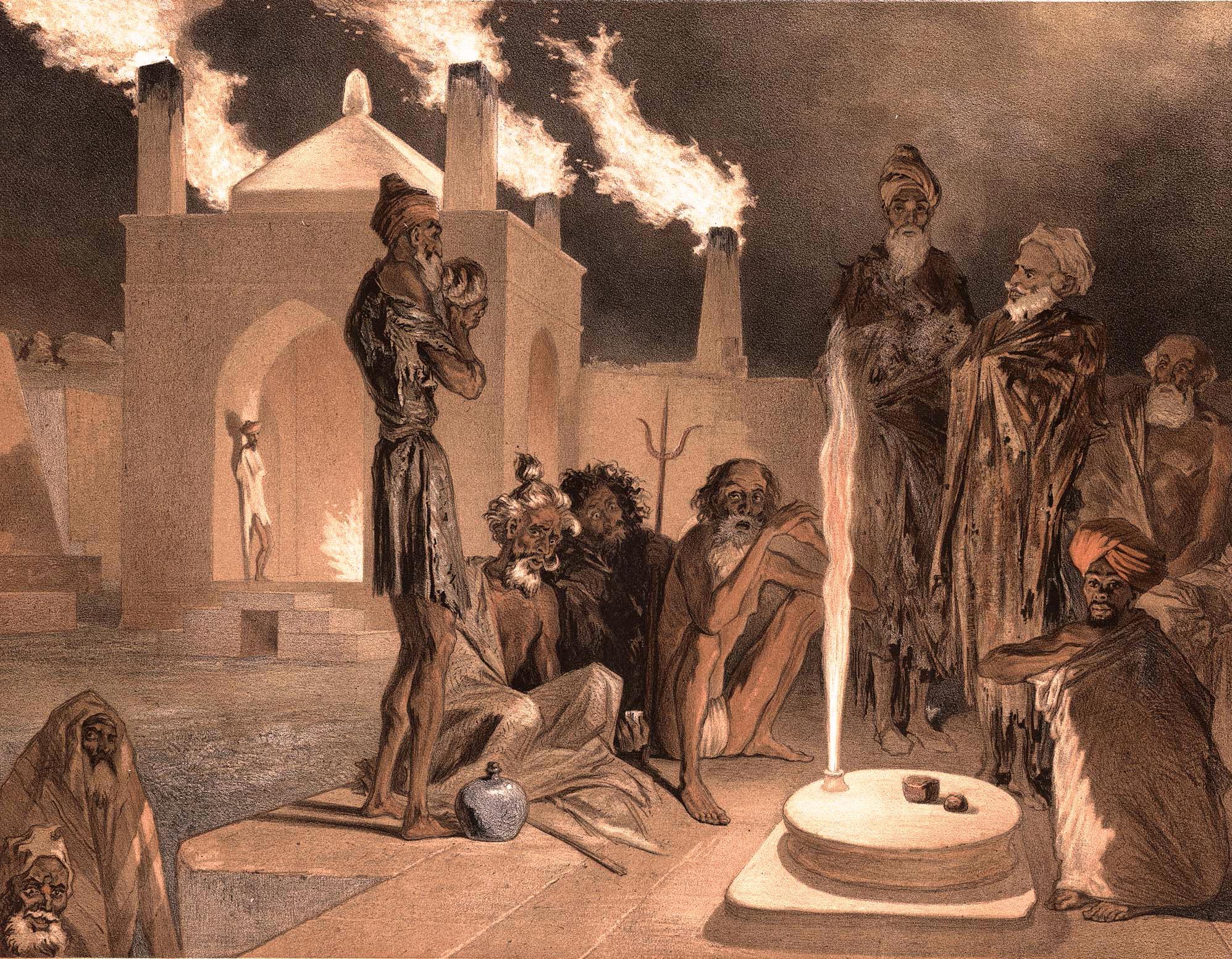 44. Bakou. Ateseh-Gah, Indiens adonnes au culte du feu / Баку. Атешгях [индийский храм огнепоклонников], индиец выполняет ритуал огня
