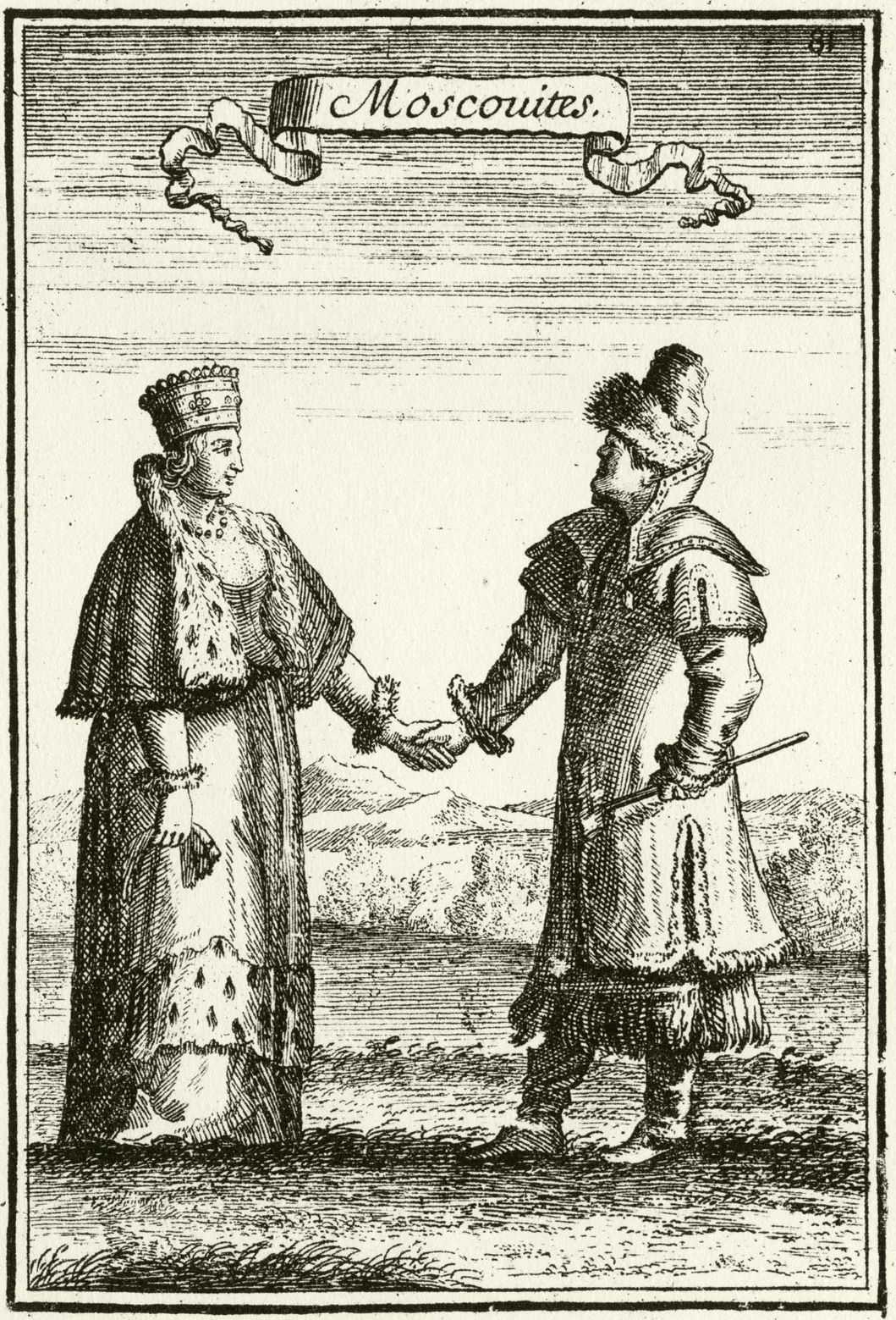 220. «Moscouites» — Москвитяне, мужчина и женщина; из Космографии Теве