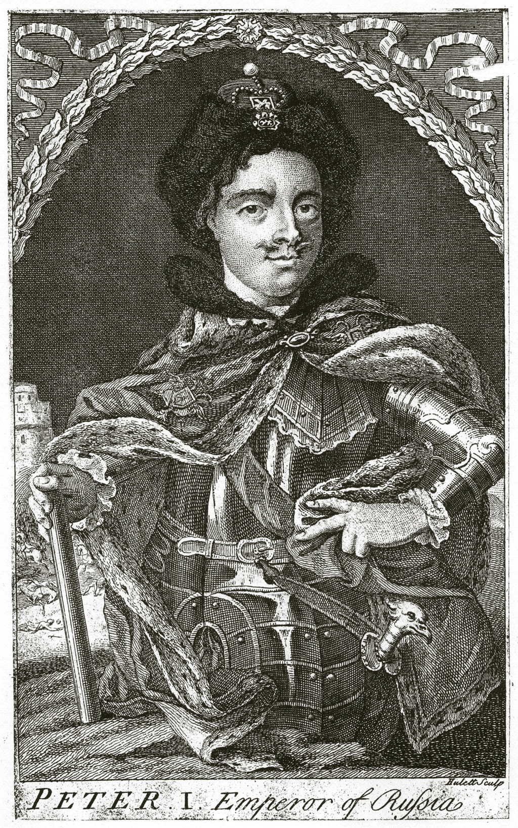 228. Петр I, гравюра Hullet'a