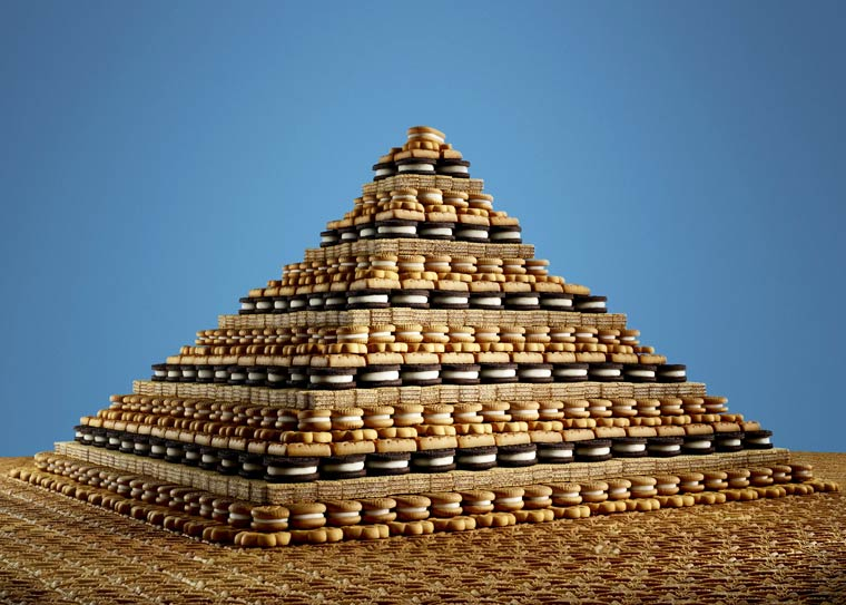 Pits and Pyramids - Structures made of biscuits, sweets and sandwiches