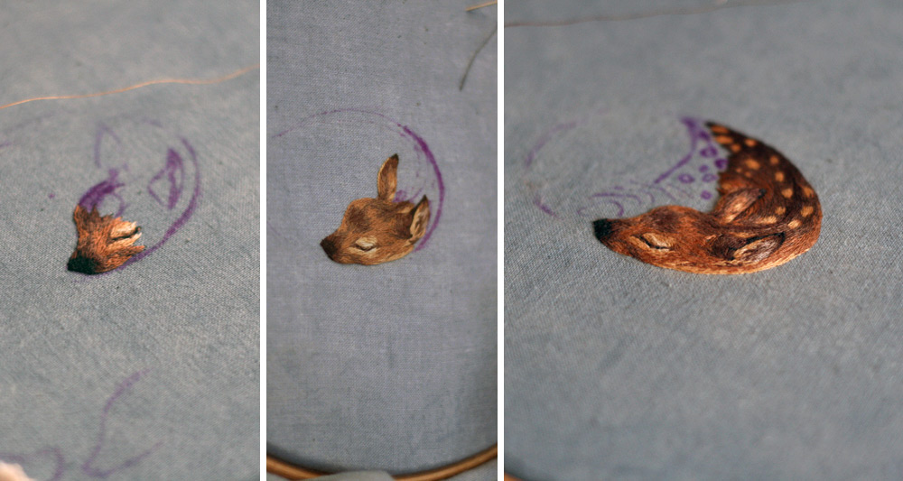 Tiny Embroidered Animals by Chloe Giordano