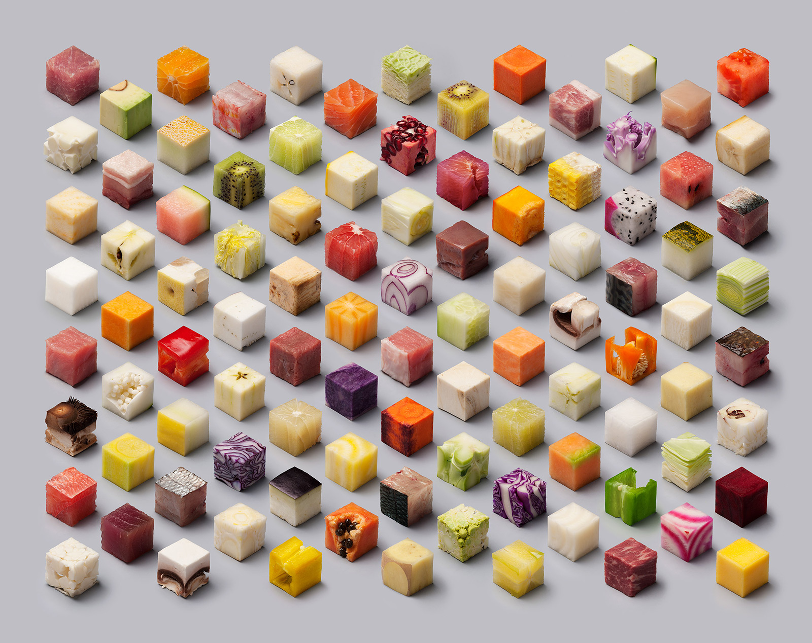A Variety of Unprocessed Foods Cut into Uncannily Precise 2.5cm Cubes by Lernert & Sander (5 pics)
