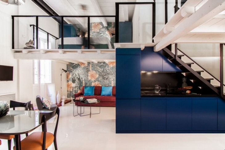 Designed by Mauro and Matteo Soddu , the Cobalt apartment is located on the first floor of a histori