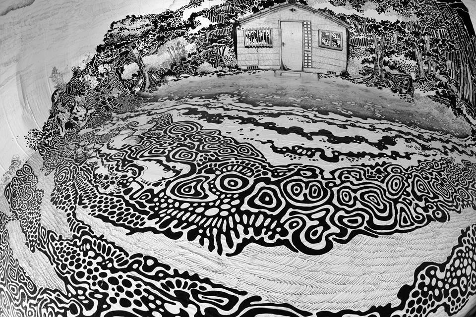 A 360-Degree Black and White Drawing of a Japanese Landscape Inside an Inflatable Dome by Oscar Oiwa