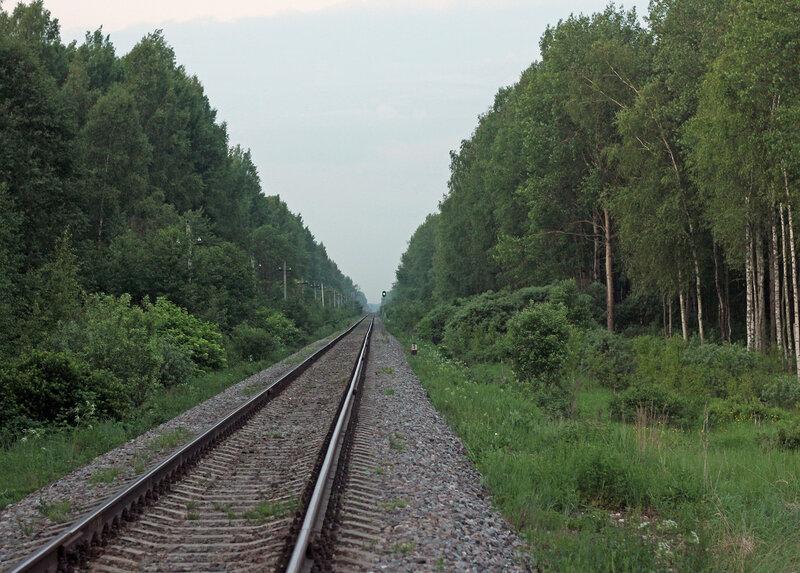 Перегон Осуга - Сычёвка, участок Помельница - Сычёвка, вид на Вязьму