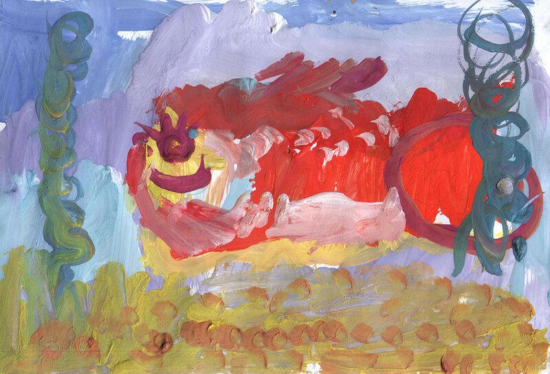 """Детский рисунок """"Золотая рыбка"""""""