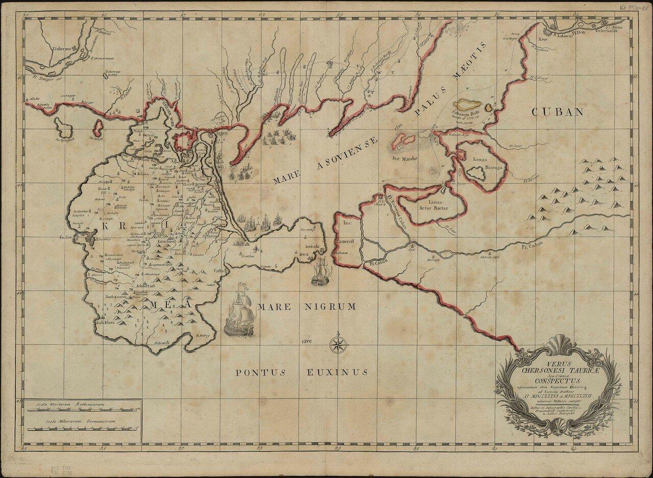 1737. Карта Крыма и окружающих местностей в момент военных действий между Россией и турками