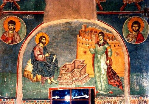 Беседа Христа с самарянкой. Фреска конца XIII века в монастыре Протат на Святой Горе Афон. Иконописец Мануил Панселин.