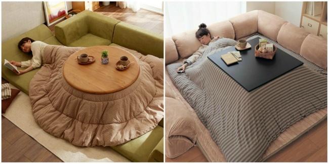 Котацу — традиционный японский предмет мебели: низкий деревянный каркас стола, накрытый японским мат